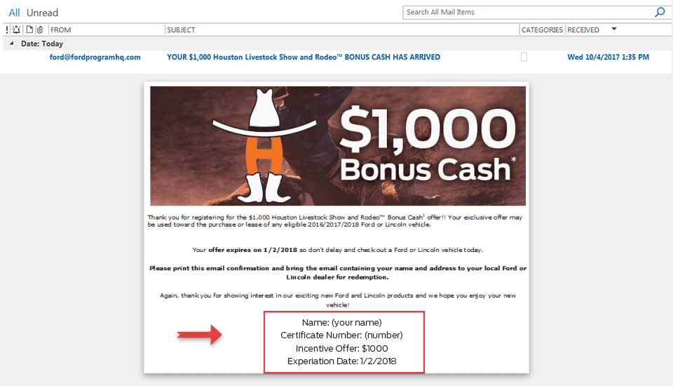 Step 6 How to Redeem $1000 Houston Livestock Show and Rodeo Volunteer Incentive